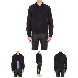 Barney's navy blue suede leather bomber jacket